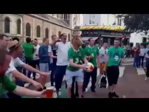Irish fan in a horse mask kicks a ball through a hotel room. Pandemonium ensues.