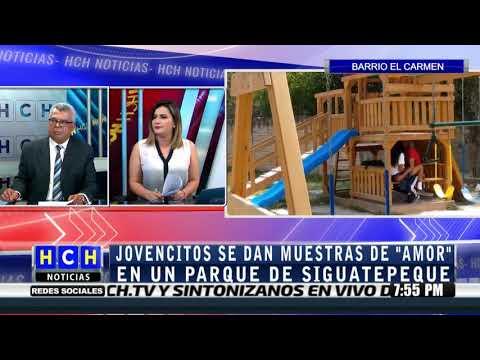 """""""Muy afectuosos"""" captaron a cipotes en parque del barrio #ElCarmen en #Siguatepeque"""