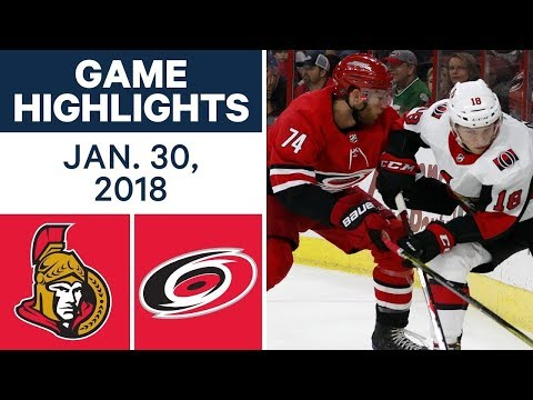 Video: NHL Game Highlights | Senators vs. Hurricanes - Jan. 30, 2018