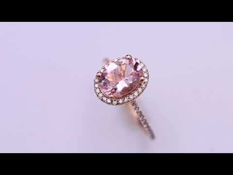 Morganite Halo Ring in Rose Gold