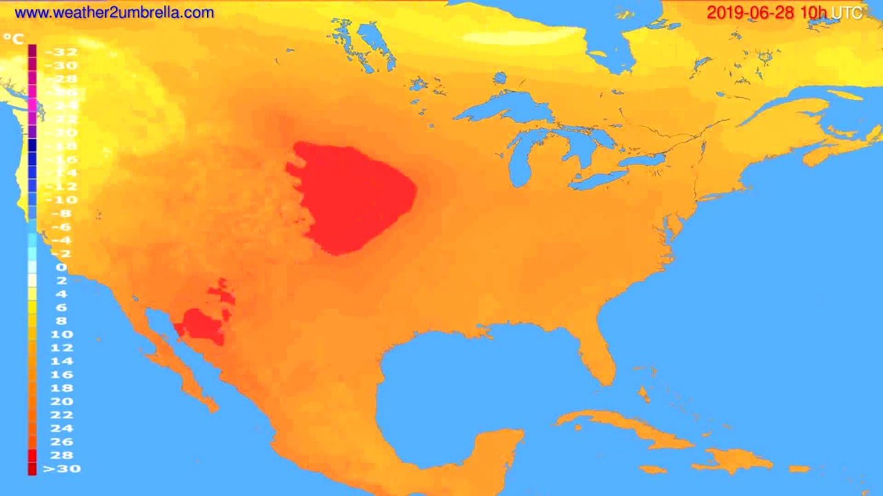 Temperature forecast USA & Canada // modelrun: 00h UTC 2019-06-26