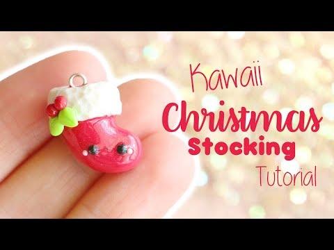fimo - piccolo charms a forma di calza natalizia