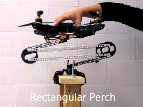 perching robot - This completely passive mechanism allows a quadrotor to perch, using only the weight of the quadrotor to grip the perch. The method is inspired by a tendon t...