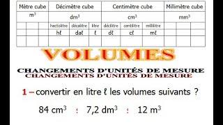 Maths 5ème - Volumes convertir d'unités de mesure Exercice 5