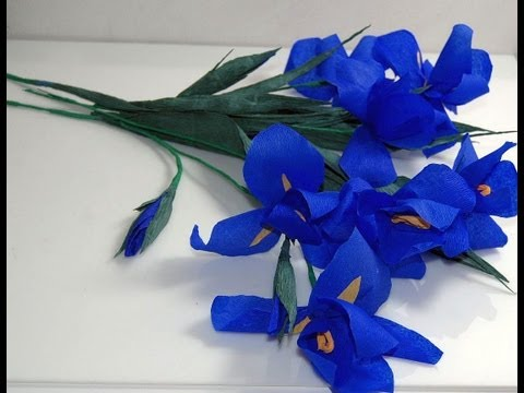 Kwiaty z bibuły- Irys. Paper crepe flowers - Iris. Ирис DIY