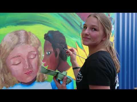 Mural Comunitario, Dortmund, Kirchentag 2019. Anne Stickel, Warner Benitez