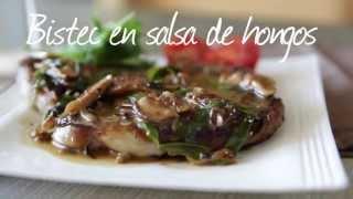 Cómo hacer bistec en salsa de hognos