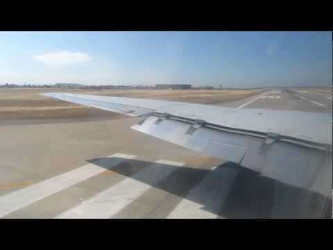 DC 8 - Window view from ATI-Air Transport International Douglas DC-8-62CF N799AL during full power takeoff from McClellan Airport (MCC), CA, USA. Operating flight 8...