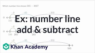 Sal adds and subtracts numbers like 585 and 368 using a number line. Numbers used in these problems are less than 1000.Watch the next lesson: https://www.khanacademy.org/math/cc-2nd-grade-math/cc-2nd-measurement-data/cc-2nd-measuring-length/v/measuring-lengths-2?utm_source=YT&utm_medium=Desc&utm_campaign=2ndgradeMissed the previous lesson? https://www.khanacademy.org/math/cc-2nd-grade-math/cc-2nd-add-subtract-1000/cc-2nd-strategies-for-adding-two-and-three-digit-numbers/v/addition-using-groups-of-10-and-100?utm_source=YT&utm_medium=Desc&utm_campaign=2ndgrade2nd grade on Khan Academy: Learn to see three-digit numbers as hundreds, tens, and onesAbout Khan Academy: Khan Academy is a nonprofit with a mission to provide a free, world-class education for anyone, anywhere. We believe learners of all ages should have unlimited access to free educational content they can master at their own pace. We use intelligent software, deep data analytics and intuitive user interfaces to help students and teachers around the world. Our resources cover preschool through early college education, including math, biology, chemistry, physics, economics, finance, history, grammar and more. We offer free personalized SAT test prep in partnership with the test developer, the College Board. Khan Academy has been translated into dozens of languages, and 100 million people use our platform worldwide every year. For more information, visit www.khanacademy.org, join us on Facebook or follow us on Twitter at @khanacademy. And remember, you can learn anything.  For free. For everyone. Forever. #YouCanLearnAnythingSubscribe to Khan Academy's 2nd grade channel: https://www.youtube.com/channel/UCNKAFuuw3dpsiSl9n90zgvw?guided_help_flow=3?sub_confirmation=1Subscribe to Khan Academy: https://www.youtube.com/subscription_center?add_user=khanacademy