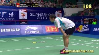 One of the most dramatic end to a badminton match with one of the longest rally (if not the longest) ever recorded.