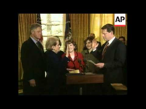 USA: WASHINGTON: MADELEINE ALBRIGHT SWORN IN AS SECRETARY OF STATE