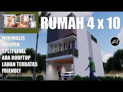 model rumah simple  -  rumah lahan sempit  -  split level 4x10