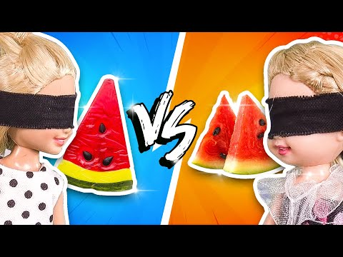 Barbie - Gummy Food vs Real Food Challenge (видео)