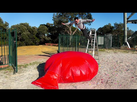 ZORB BALL Vs. GIANT WHOOPEE CUSHION from 45m!