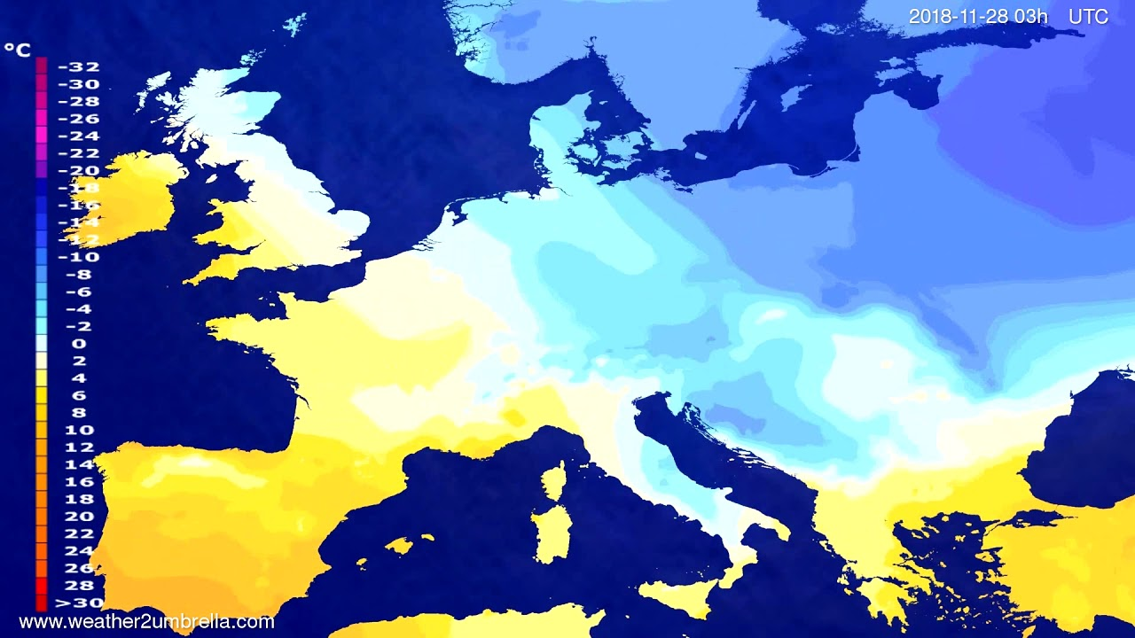Temperature forecast Europe 2018-11-25