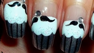 Moustache Cupcake Nails - YouTube
