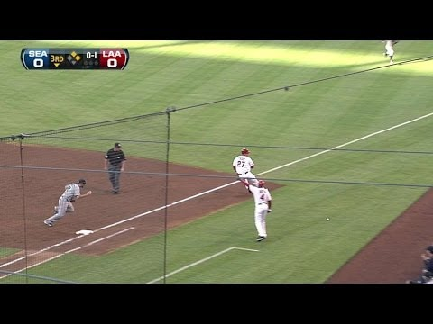 trouts - 7/9/11: Mike Trout gets his first career Major League hit on an infield single, and Mark Trumbo scores on a Seattle throwing error Check out http://MLB.com/v...