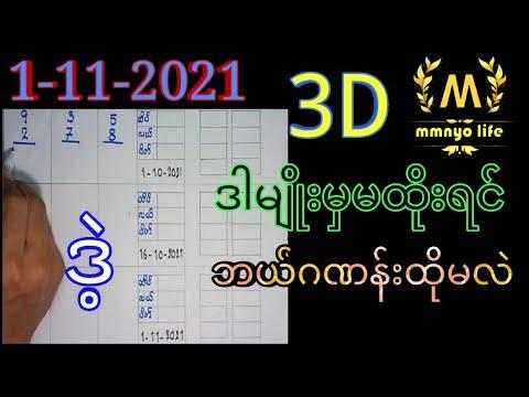 1-11-2021 3D ချဲဂဏန်း,ဒီဂဏန်းနဲ့ထိမှချဲထိုး,mmnyo life 2d,3d free
