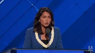 Rep. Tulsi Gabbard of Hawaii nominates Bernie Sanders at the Democratic National Convention