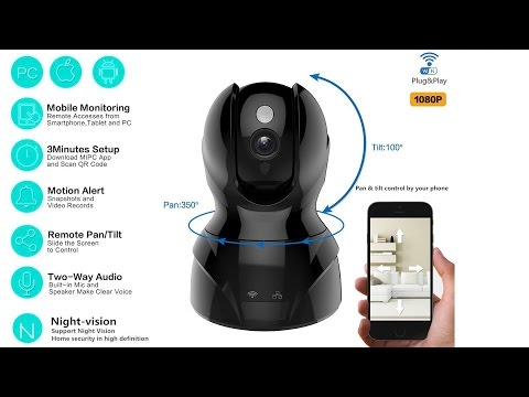 1080p IP Camera with Night vision,Pans 350°, tilts 100°t review