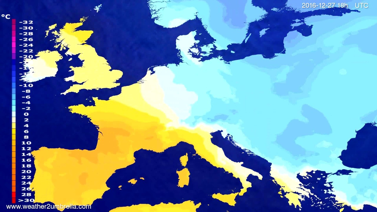 Temperature forecast Europe 2016-12-24