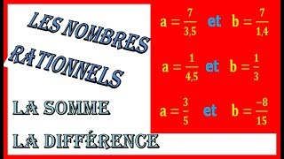 Maths 3ème - Les nombres rationnels Addition et Soustraction Exercice 13