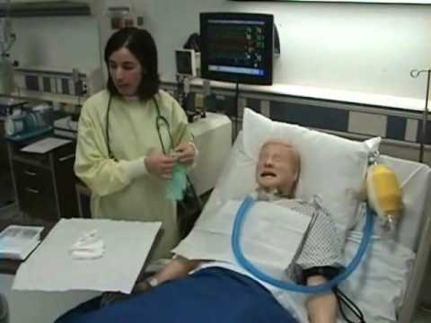 care - Demonstration of how to perform tracheostomy care for a patient.