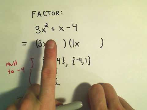 patrickJMT - Factoring Trinomials (A quadratic Trinomial) by Trial and Error! A brute force way to factor a trinomial, if it factors nicely. Very, very tedious. Unfortuna...