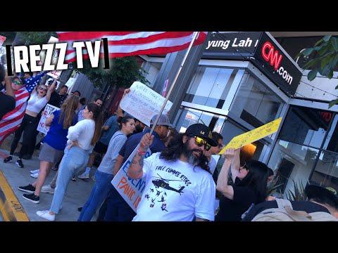 "Protesters Chant ""F* Joe Biden!"" At CNN HQ Los Angeles | LET'S GO BRANDON!"