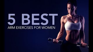 The best arms exercises for women can be found in our 90 day fitness and nutrition program http://athleanx.com/x/best-arms-exercises-for-womenThese are the 5 best arms exercises for women to make up a total arms workout.   This womens arms workout will help you get toned arms and will help you learn how to lose arm fat.  Within these best arm exercises for women you'll find moves that hit the shoulders, biceps and triceps.There are 5 moves in this womens arm workout.  For these best arms exercises, you can choose to do between 30 to 45 seconds of work followed by 15 to 30 seconds of rest.  You can set an interval timer to do this sculpted arms routine.  If you are a beginner, you can shoot for 1-2 rounds of this womens arm workout. If you are more advanced try to do 3-4 rounds of this arm workout for women.  If you are looking for a full length workout with best arm exercises for women, check out our Athlean-XX for Women program https://athleanx.com/best-workout-program-for-women/getleanHere are the arms exercises for women that will help get you beautiful arms:1) Curl to Overhead Press2) Plate Pass3) T Raise4) Bent Over Curl Tricep Extension5) Bar TrifectaFor all the best arms exercises for women to help you get toned arms, subscribe to our Youtube channel https://www.youtube.com/user/womensworkouts