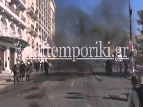 Μολότοφ και χημικά στο κέντρο της Αθήνας