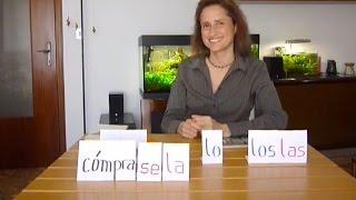 """You can buy the software to practice:""""Practiquemos más"""" ➤ http://www.practiquemos.com/espanol¡SUSCRÍBETE! [please subscribe]: http://goo.gl/dP6qzBPAGINA WEB [webpage]: http://www.practiquemos.com""""Practiquemos más"""" [software to practice]: http://www.practiquemos.com/espanolNEWSLETTER: http://www.practiquemos.com/newsfacebook: http://www.facebook.com/PRACTIQUEMOSGoogle+: http://google.com/+PractiquemosEspanolTwitter: @practiquemosFree Spanish lessons - Imperative mood How to use indirect object pronounsIMPERATIVO INFORMAL (TÚ) - PARTE VEl complemento indirecto y los verbos en Imperativo————————————————————DAR + me - nos - le - les————————————————————Dar ➤ dame - danos - dale - dalesDame las llavesDanos las llevesDale el libroDales el libroDale la pelotaDales la pelota—————————-Otros ejemplos:—————————-Dame un besoDame una pastillaDanos una pastillaDale un té calienteDales un té caliente—————————-Otros verbos:—————————-traer ➤ tráeme el periódicotraer ➤ tráenos el periódicotraer ➤ tráenos unos refrescosexplicar ➤ explícale los verbos a élexplicar ➤ explícale los verbos a ellaexplicar ➤ explícanos los verboscortar ➤ córtale el pelocortar ➤ córtales el peloayudar ➤ ayúdame———————————————————-Complemento Indirecto + Complemento Directo———————————————————-comprarcómprame ➤ cómpramelo (el libro)cómprame ➤ cómpramela (la revista)cómpranos ➤ cómpranosla (la revista)cómprale ➤ cómpraselo (el libro)cómprale ➤ cómprasela (la revista)—————————-Otro ejemplos:—————————-Dame las llaves ➤ dámelasDanos las llaves ➤ dánoslasTráeme el periódico ➤ tráemeloDale el libro ➤ dáseloDales el libro ➤ dáseloExplícanos los verbos ➤ explícanoslosCórtale el pelo ➤ córtaseloDales la pelota ➤ dáselaVocabulario:El libro, la pelota, el pelo, cortar, traer, el periódico, la revista, las llaves, té caliente, dolor de cabeza, una pastilla, unos refrescos."""