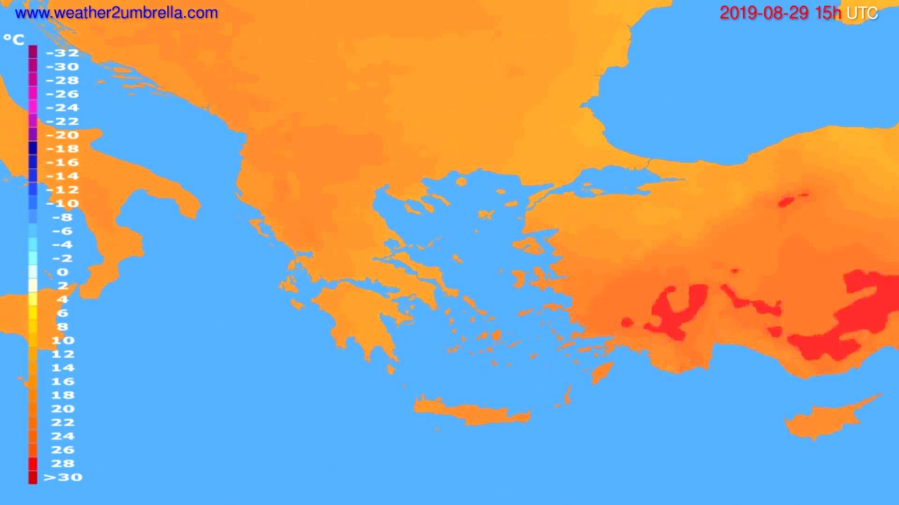 Temperature forecast Greece // modelrun: 12h UTC 2019-08-26