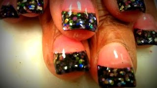 Glitter tips nail tutorials shows how to apply acrylics over premade glitter tips. In this set, I used a glittery tip that's premade with glitter flakes. Usi...