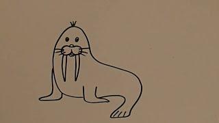 Рисовать карандашом, дети моржи, для малышей, Hand drawing, for babies,  walruses