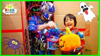 Ryan Trick or Treat in the Halloween Box Fort Maze for Surprise Toys with Disney Superheroes!!!