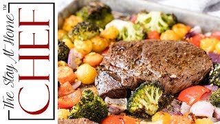 """Italian Sheet Pan Steak and Veggies is a one pan meal with a colorful medley of vegetables and an Italian inspired butter sauce that keeps everything moist and flavorful. ________________________________________↓↓↓↓↓↓ CLICK FOR RECIPE ↓↓↓↓↓↓↓↓ _______________________________________Italian Sheet Pan Steak and Veggies INGREDIENTS 1/4 cup butter, melted1/4 cup olive oil4 cloves garlic, crushed2 teaspoons Italian seasoning1 teaspoon salt1/2 teaspoon black pepper1 cup yellow cherry tomatoes2 carrots, sliced1 red bell pepper, cut into 1-inch pieces1 red onion, cut into 1-inch pieces2 cups broccoli florets1 pound sirloin steaksalt and pepper to taste1 lemon, zested and juiced  INSTRUCTIONS 1. Spray a sheet pan with nonstick cooking spray. Preheat oven to 400 degrees. 2. In a small mixing bowl, whisk together melted butter, olive oil, garlic, salt, pepper, onion powder, and Italian seasoning. 3. Lay vegetables out onto the sheet pan. Drizzle with 2/3rds of the butter mixture.  4. Bake in the 400 degree oven for about 15 minutes. 5. Lay the steak out onto the sheet pan, moving the vegetables to the side as needed. Drizzle with remaining butter mixture. 6. .Place baking sheet directly under the broiler. Broil about 4-5 minutes per side, flipping halfway through, until steak reaches desired level of doneness. 7. Drizzle vegetables with lemon juice and sprinkle with lemon zest just before serving. Serve hot.     Thanks for watching! Don't forget to push """"LIKE,"""" leave a COMMENT below, and SUBSCRIBE! Feel free to SHARE this video too. PRINTABLE RECIPE: http://thestayathomechef.com/sheet-pan-steak-and-veggies/SUBSCRIBE to my channel: http://youtube.com/thestayhomechefFACEBOOK: https://www.facebook.com/TheStayAtHomeChef/INSTAGRAM: https://instagram.com/thestayathomechef/PINTEREST: https://www.pinterest.com/stayathomechef/TWITTER: https://twitter.com/thestayhomechefCONTACT ME: stayathomechefblog@gmail.com Carefree by Kevin MacLeod is licensed under a Creative Commons Attribution li"""