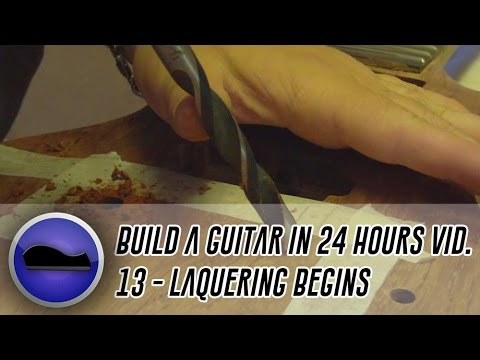 Video 13 - How to build a guitar | final drilling/sanding and then the lacquering begins