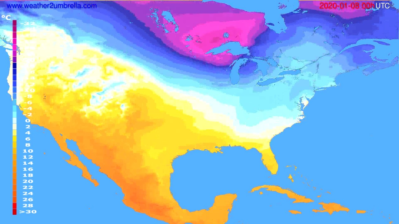 Temperature forecast USA & Canada // modelrun: 00h UTC 2020-01-07