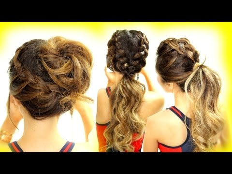 3 ★ Cutest WORKOUT HAIRSTYLES Ever!  BRAID HAIRSTYLES for Long Medium Hair