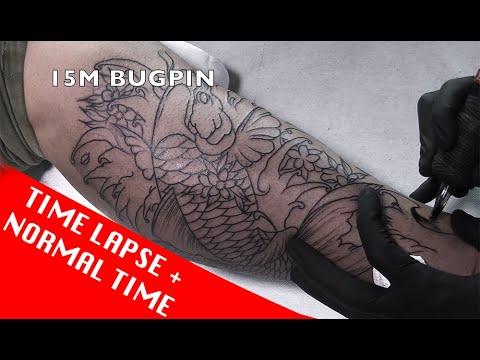 Japanese Koi fish - Tattoo time lapse + Normal time (7RL, 7RS, 9M, 15M)
