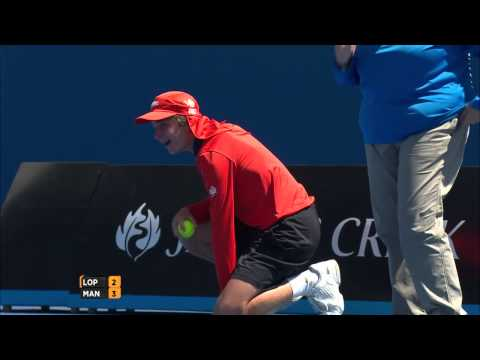 Ball boy hit at the Australian Open