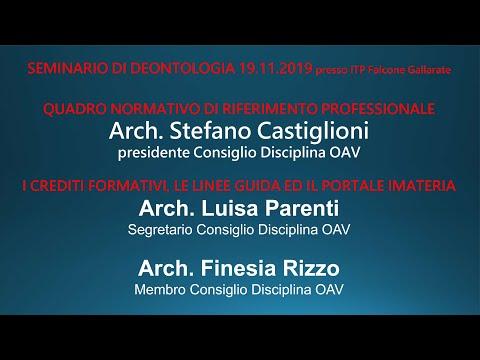 """""""Deontologia professionale"""" 19 novembre 2019"""