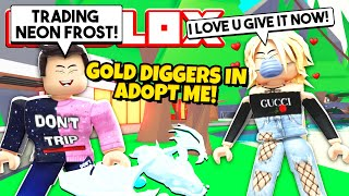 Gold Digger Asks to DATE for My NEON FROST DRAGON in Adopt Me... (Roblox)