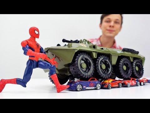 Видео для детей: Супергерои. ЧеловекПаук против Джокера: вернём машинки Папа Тайм.