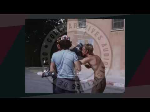 """Instantané """"Monaco en films"""" : Dans les coulisses d'un tournage de film, à Monaco, été 1972"""