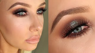 FULL GLAM: Blue/Brown Sparkly Smokey Eye + Flawless Skin! | Lauren Curtis by Lauren Curtis