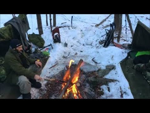 Winter Bushcraft Camping. Overnighter In The Us Army Pup Tent