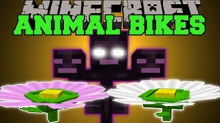 Minecraft: NEW ANIMAL BIKES (RIDE A GIANT FLOWER&THE WITHER!) Mod Showcase