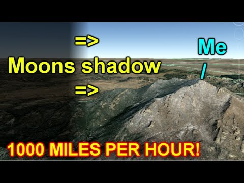 Watching Moons Shadow From Mountaintop! 1000 miles per hour! (видео)